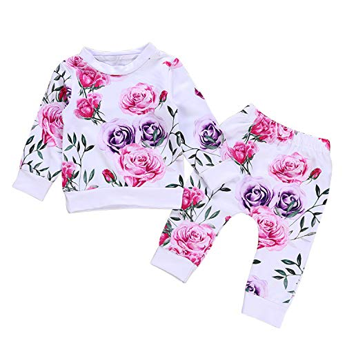 2PCS Baby Girls Sets Long Sleeve Floral Print Casual Pullover Sweatshirts&Pants