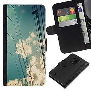 KLONGSHOP // Tirón de la caja Cartera de cuero con ranuras para tarjetas - Nubes de Sun del cielo Pájaro Sentado Naturaleza - LG G3 //