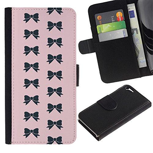 LASTONE PHONE CASE / Luxe Cuir Portefeuille Housse Fente pour Carte Coque Flip Étui de Protection pour Apple Iphone 5 / 5S / bow pink bowtie pattern black fashion