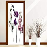Analisahome Static Cling Glass Film Orchid Flower Privacy Window Film Decorative Window Film W32 x H80
