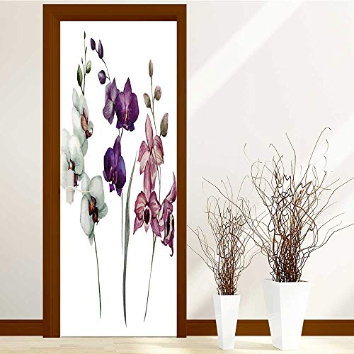 Analisahome Static Cling Glass Film Orchid Flower Privacy Window Film Decorative Window Film W32 x H80 by Analisahome