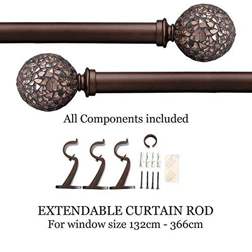 Deco Window Curtain Rod - Glory Mosaic Iron 25mm Extendable Curtain Drapery Rod Brown Oil -