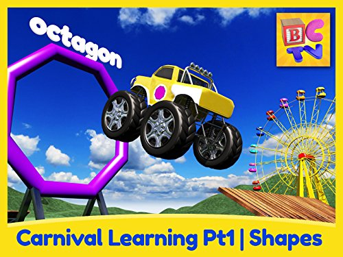 Prima Candy - Carnival Learning Pt1 - Learn Shapes with Monster Trucks and a Carnival Game for Kids