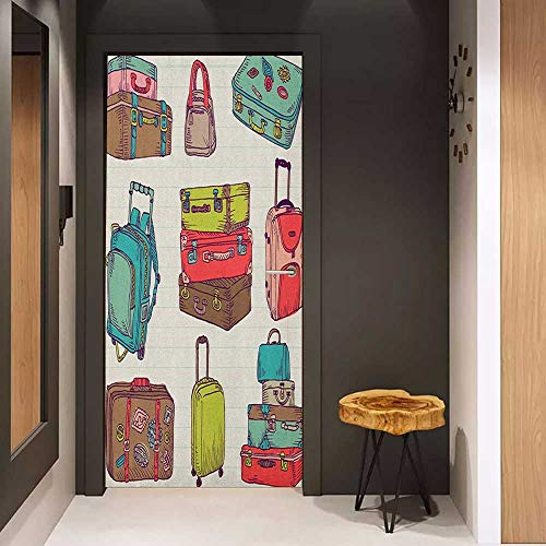 Onefzc Door Sticker Mural Doodle Colorful Suitcases Holiday Inspired Design Travelling Abroad Vintage Style Artwork WallStickers W31 x H79 Multicolor ()