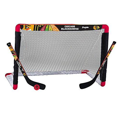 Franklin Sports NHL Chicago Blackhawks Mini Hockey Goal, Stick and Ball Set (Hockey Puck Stick And Goal)