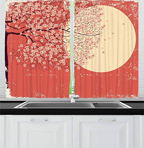 Ambesonne Spring Kitchen Curtains, Cherry Blossom Sakura Tree Branches on Moon Japanese Style Illustration, Window Drapes 2 Panel Set for Kitchen Cafe, 55 W X 39 L Inches, Coral Pale Yellow Plum