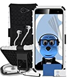 Vodafone Smart Platinum 7 White Shock Proof Rugged Hard Case with Viewing Stand - LCD Screen Protector - Retractable Mini Stylus Pen - 3.5mm ZIPPER Stereo Hands Free HeadPhones with Mic