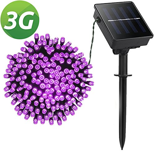Lellel 3rd Gen Super Bright Solar Outdoor LED String Lights, for Yard Patio Garden Tree Party Wedding Decoration, Purple With 8 Working Modes (For Sale Mantle Headboards)