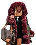 Roiii Thickened Wine Red Faux Fur Amry Green Camouflage Parka Women Hooded Fishtail Winter Jacket Overcoat Plus US Size S-3XL (X-Large, Wine Red)