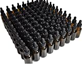 DropperStop 1oz Amber Glass Dropper Bottles (30mL) with Tapered Glass Droppers - Pack of 99