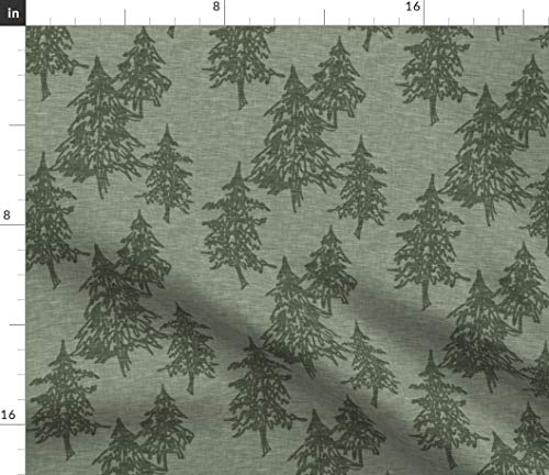 Spoonflower Trees Fabric - Trees Forest Evergreen Green Print on Fabric by The Yard - Petal Signature Cotton for Sewing Quilting Apparel Crafts Decor