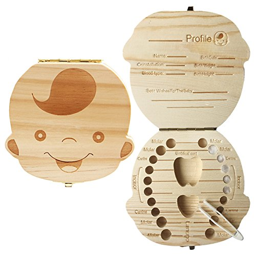 Baby Teeth Box Homya Wooden Milk Tooth Keepsake Box Organizer Deciduous Souvenir Boy