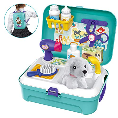 Pet Care Play Set Dog Grooming Kit with Backpack Doctor Set Vet Kit Educational Toy-Pretend Play for Toddlers Kids…