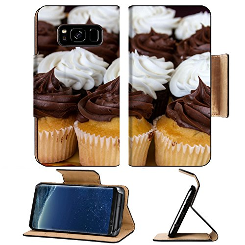 Border Platter (Liili Premium Samsung Galaxy S8 Plus Flip Pu Leather Wallet Case ID: 22260113 Rows of chocolate and vanilla frosted cupcakes on decorated serving platter)