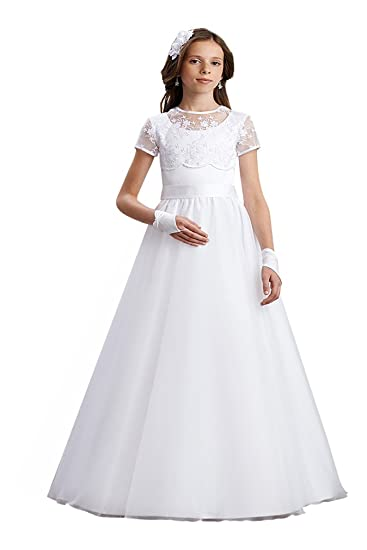 e9d9214b5f9 deine-Brautmode Girls  dress Dress white Weiß  Amazon.co.uk  Clothing
