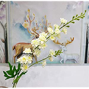 Skyseen 5Pcs Artificial Hyacinth Delphinium Silk Flowers Branches for Home Decoration 14