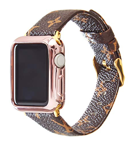 Gucci Louis Vuitton - GUVCYO Compatible Apple Watch Band 42mm Fashion Leather iWatch Sport Series 4 Series 3 2 1 Strap Replacement for Women Men Metal Buckle (Brown 42mm L)