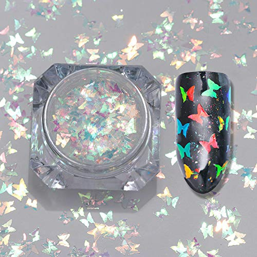 Holographic Nail Glitter Sequins Powder Colorful 3D Nail Art Decoration Manicure (Pattern - Butterfly (Approx. 2g))