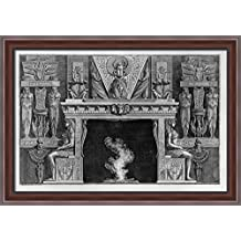 Fireplace Egyptian style, the sides two seated figures in profile, facing outwards 40x28 Large Walnut Ornate Wood Framed Canvas Art by Giovanni Battista Piranesi