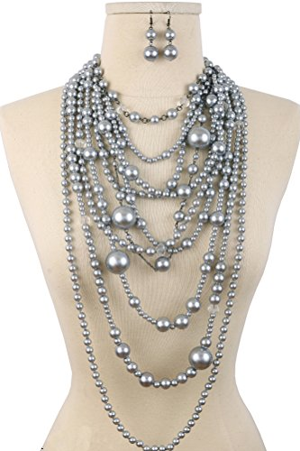 Gray Pearl Necklace Set (Mia Multi-Functional Simulated Pearl Statement Necklace and Earrings Set Grey)