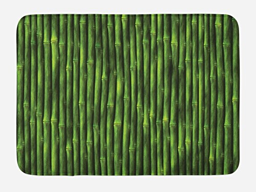 Ambesonne Bamboo Bath Mat, Bamboo Stems Pattern Tropical Nature Inspired Background Print Wildlife Theme, Plush Bathroom Decor Mat with Non Slip Backing, 29.5