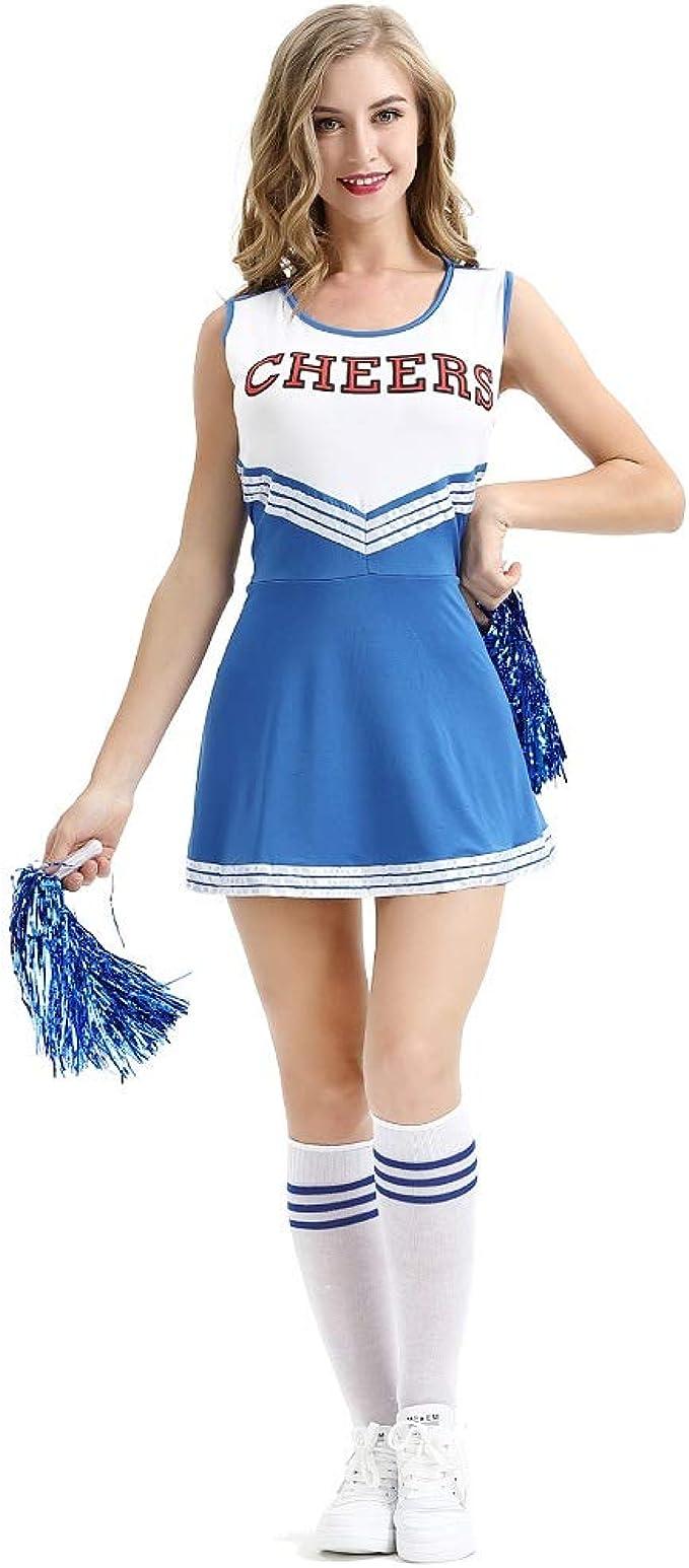 Ladies High School Cheerleader Costume Vestito Da Cheerleader Ragazza Pom per adulti