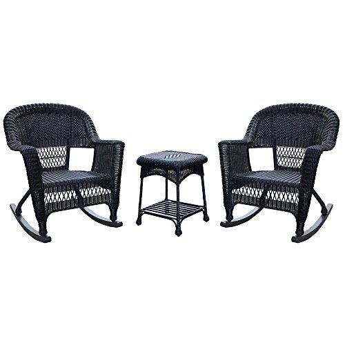Jeco W00207R-D_2-RCES 3 Piece Rocker Wicker Chair Set, Black ()