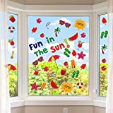 200 Pieces Summer Window Clings Fun in The Sun Static Stickers Window Clings with Sun, Beach, Flip Flops, Drinks for Summer Party Decorations