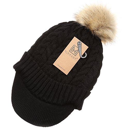 aae5cf022 MIRMARU Women's Winter Warm Cable Knitted Visor Brim Pom Pom Beanie ...