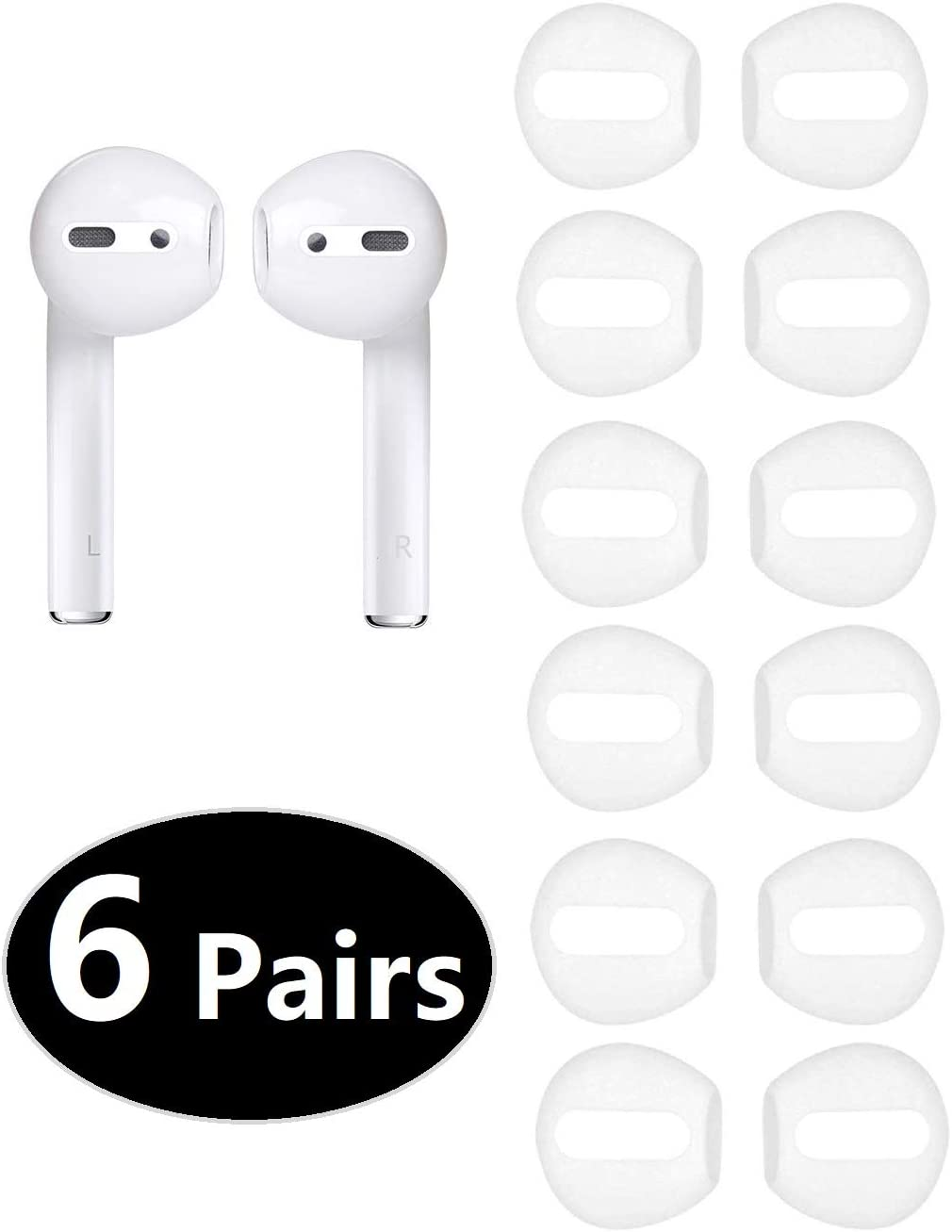 Earbud Cover Accessories Ear Tips Earpads for Apple AirPods JNSA AirPods Tips 6 Pairs White Fit in The Case 12PCS