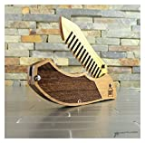 Tactical Knife, Folding Beard Comb, Wood and Acrylic