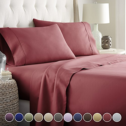 HC COLLECTION Hotel Luxury Bed Sheets Set TODAY! On Amazon Softest Bedding 1800 Series Platinum Collection-100%!Deep Pocket,Wrinkle & Fade Resistant (Twin,Burgundy) (Series Red Platinum)