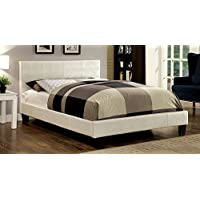 247SHOPATHOME Idf-7793WH-EK Platform-Beds, King, Pearl White