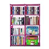4 Tier 8 Bookshelf Office Home Furniture Organizer Storage Cabinet Bookcase (Pink)
