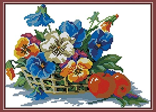 Zamtac Needlework 11CT 14CT 16CT 18CT Cross Stitch, DIY Count Cross Stitch, Embroidery Set, Fruit and Pansy - (Cross Stitch Fabric CT Number: 14CT unprinted) (Count Cross Stitch Pansy)