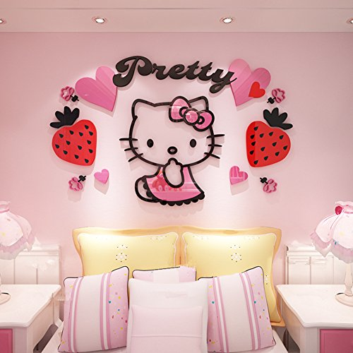 YOURNELO Kid's Decorative Cute Cartoon Hellokitty Livingroom Waterproof PMMA 3D Stereo Wall Sticker Peel & Stick Wall Art (C-Pink, X-Large) -