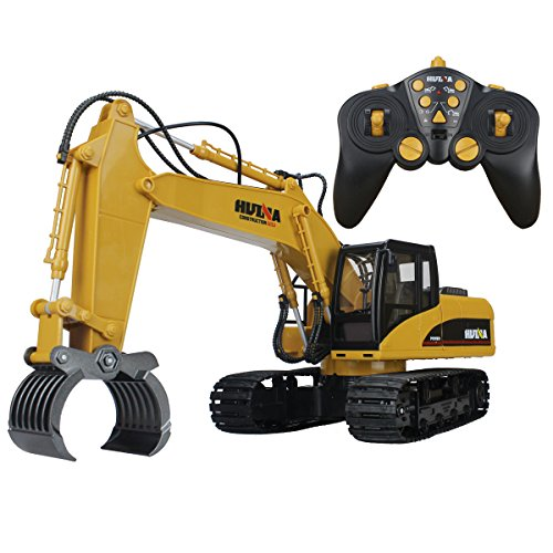 - 51e0UOeQ22L - 16 Channel 2.4G RC Alloy Timber Grab Excavator Remote Control Engineer Tractor Rechargeable Vehicle Toy with Simulation Sound and Flashing Light Truck Model