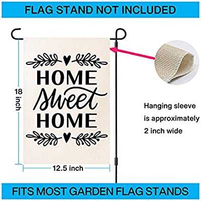 Zanllw Summer Fall Home Sweet Home Welcome Burlap Garden Flag Double Sided Decorative Flag Small Size House Yard Flag Seasonal Garden Yard Banner And Decoration Vertical Outdoor Flag 12 5x18 Inch