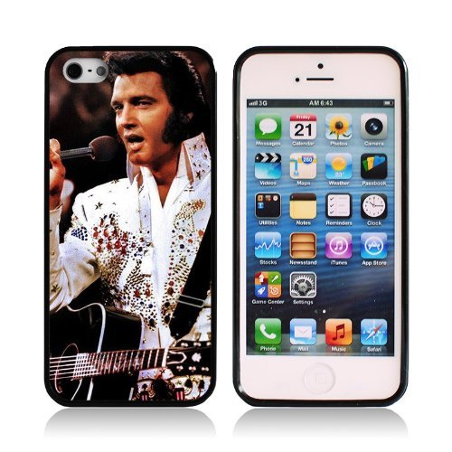 Rock Singer Star Elvis Presley iPhone 5s Cover Black Color TPU Rubber Case iPhone 5 Case (Singer Iphone 5s Case)