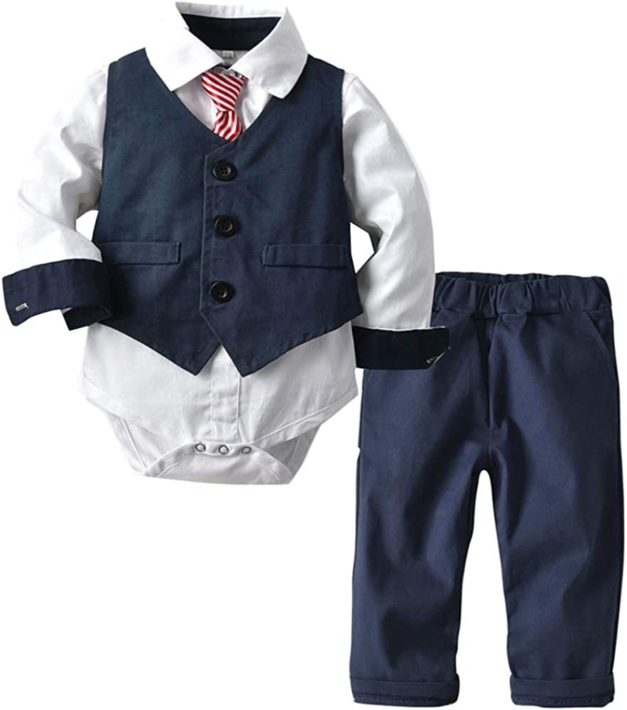 Happy Cherry Baby Boy Formal Outfit Suit with Ties Waistcoat Gentleman Tuxedo 6-24 Months Navy Blue