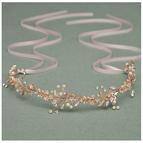 SWEETV Rose Gold Bridal Headband Tiara, Wedding Hair Vine Head Piece Handmade Pearl Women Hair Accessories