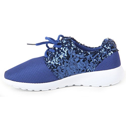 Blue Shoe London 1990 Sneakers Ladies Girls Trainer Women Running Light Sequin Glitter Sport Gym Pump 6RwZwqfn0