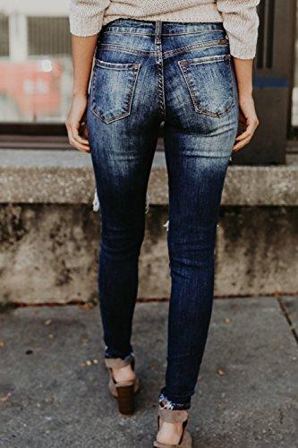 Azul Del Denim Pants La Destruido Tobillo Skinny Jeans Stretchy Ripped Mujer Casaul Pnw5qUg