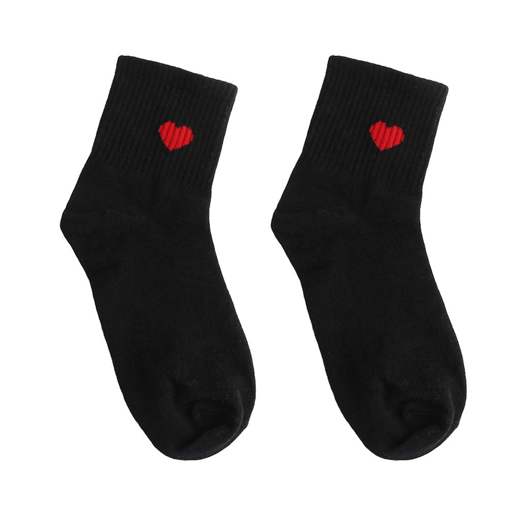 Women Cute Solid Color Love Heart Breathable Cotton Elastic Middle Tube Socks