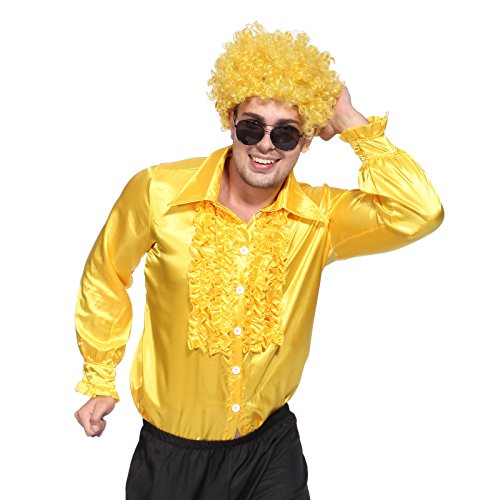 1970s Mens Disco Night Stag Party Metallic Ruffle Shirt Dance Fancy Dress Costume -