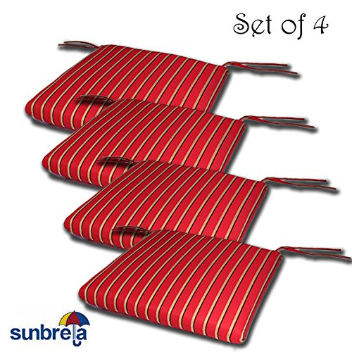 SET OF 4 20W x 19Dx 2.5H Sunbrella Indoor/Outdoor Knife Edge style seat pad cushion in Harwood Crimson by Comfort Classics Inc. Made in USA (Sunbrella Cushions Chair)