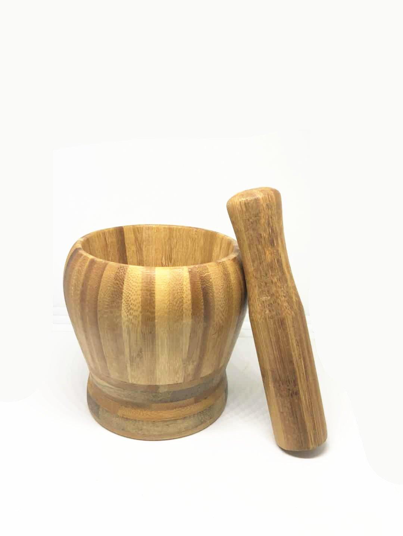 Bamboo Mortar and Pestle Crushing Sesame Seeds Set for Grinding and Crushing Garlic Herb Pill