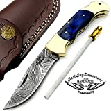 Back Lock Blue Wood 7.5'' Hand Made Damascus Steel Folding Pocket Double Knife Brass Bolster Folding Pocket Knife 100% Prime Quality