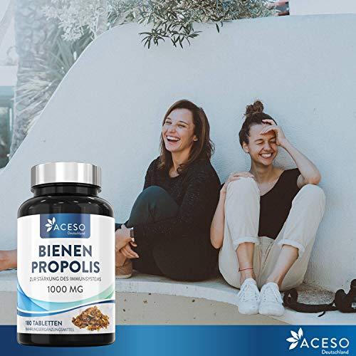 Propolis 1000mg | 180 hochdosiert Propolis Tabletten | Natürliche Unterstützung des Immunsystems, Linderung von Halsschmerzen und starkes Antioxidans | Von Aceso