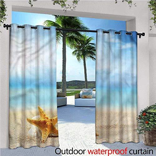 warmfamily Starfish Patio Curtains Scallop Sea Star Outdoor Curtain for Patio,Outdoor Patio Curtains W96 x L96